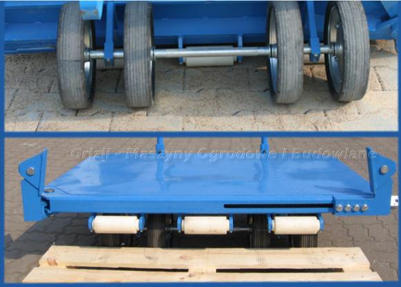 Wózek brukarski Krab - cztery stalowe koła, rolki najazdowe