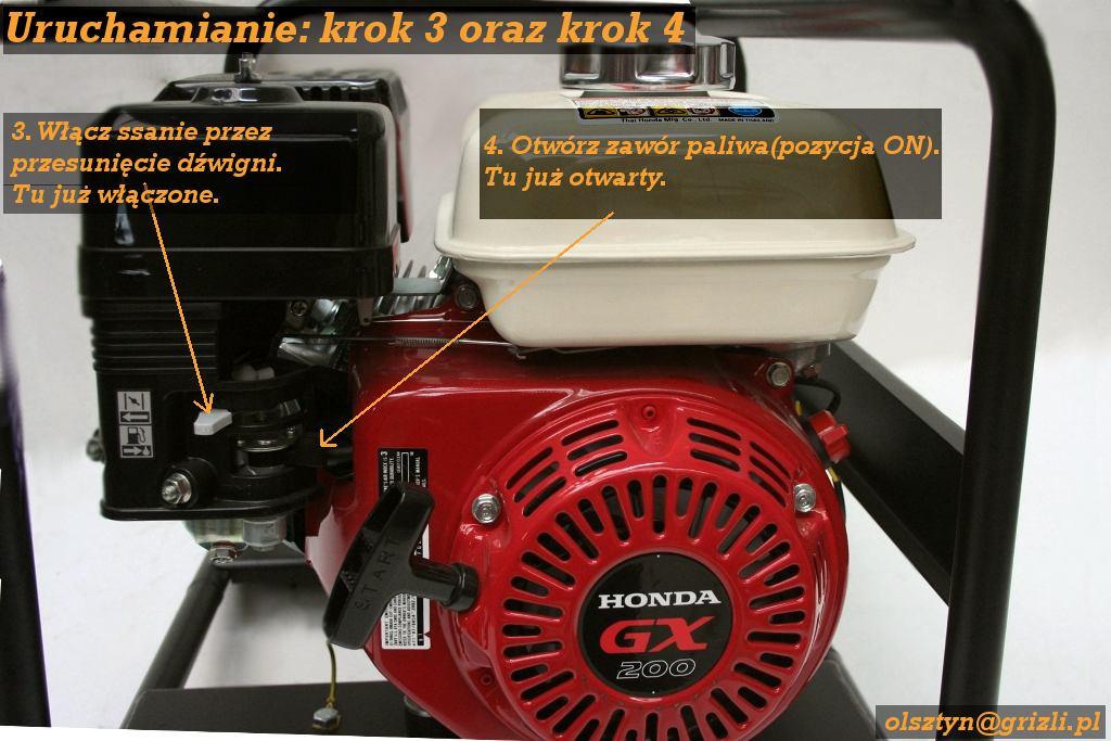 Pompa Honda WB20 - uruchomienie - krok 3 i 4