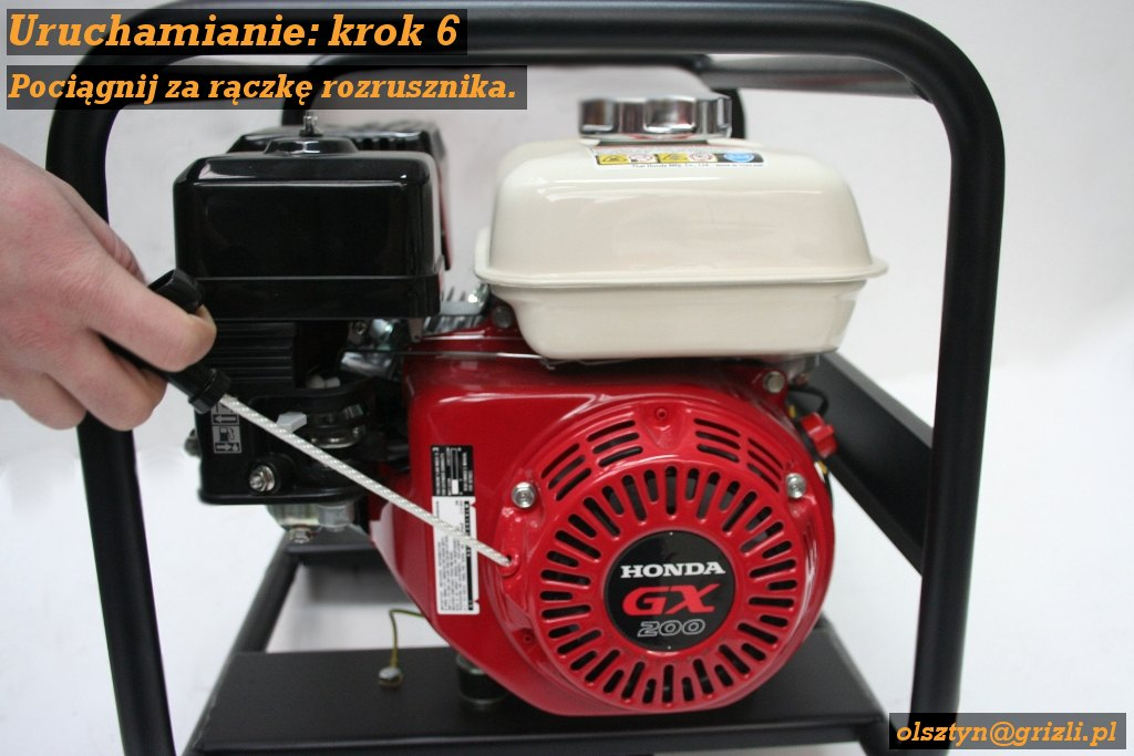 Pompa Honda WB20 - uruchamianie - krok 6