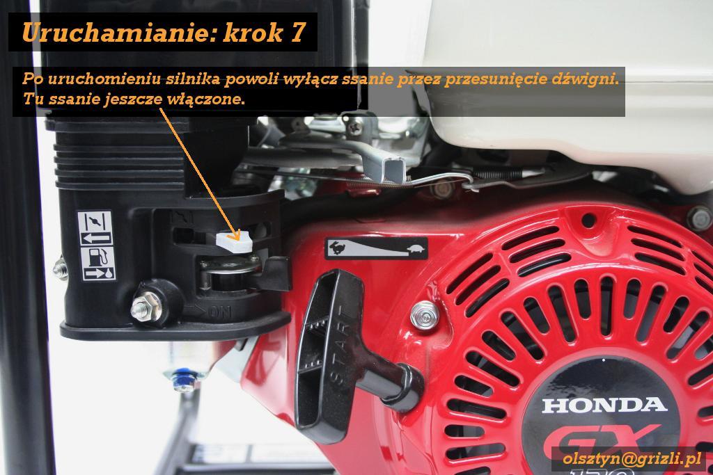 Pompa Honda WB20 - uruchamianie - krok 7