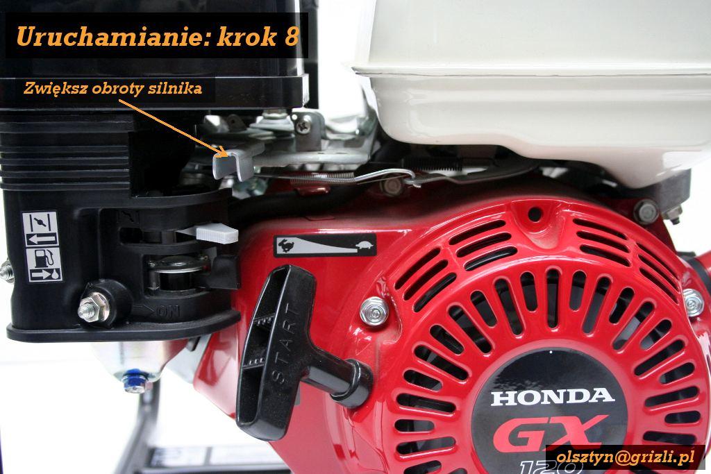 Pompa Honda WB20 - uruchamianie - krok 8