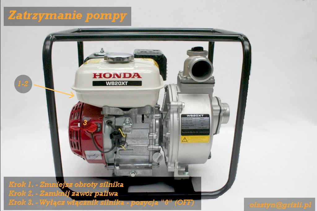 Pompa Honda WB20 - uruchamianie/ zatrzymanie - krok 9